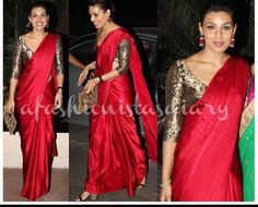 Indian supermodel, Deepti Gujral also made a red hot entrance at Ekta Kapoor's Diwali bash. Since bright colors is the way to go, Deepti wore a red silk sari by Sanjay Garg with a brocade blouse. Indian Attire, Indian Ethnic Wear, Indian Style, Indian Dresses, Indian Outfits, Indian Clothes, Ethnic Fashion, Indian Fashion, Sari Bluse