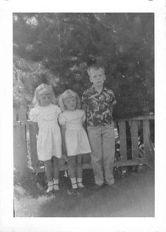 Photograph Snapshot Vintage Black and White 2 Girls Boy Dress Line 1950'S | eBay