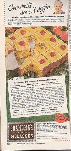 Grandma's Old Fashioned Molasses Nut Squares