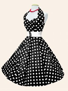 1950s Halterneck Black White Polkadot Dress from Vivien of Holloway