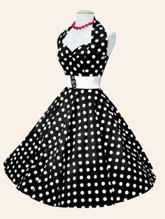 1950s Halterneck Black White Polkadot Dress from Vivien of Holloway