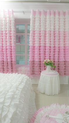 Room Design Bedroom, Room Ideas Bedroom, Home Room Design, Home Decor Bedroom, Diy Room Decor, Girl Curtains, Home Curtains, Pink Ruffle Curtains, Ruffles