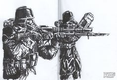 A couple of guardsmen from the Death Korps of Krieg regiments. Death Korps of Krieg Guardsmen Warhammer 40k Memes, Warhammer Art, Warhammer 40000, 40k Imperial Guard, Military Drawings, Anime Military, Sci Fi Armor, Creepy Art, Dieselpunk