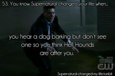 53. You know #Supernatural changed your life when... you hear a dog barking but don't see one so you think Hell Hounds are after you. Makes for the worst nightmares
