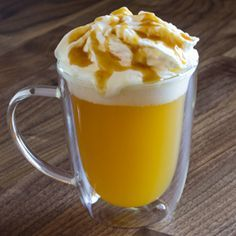 Caramel Apple Spice Cider Ingredients for 1 serving: 1.5 oz. Torani Brown Sugar Cinnamon Syrup 10 oz. steamed apple juice Torani Caramel Sauce Whipped cream Steam apple juice using electric/battery…