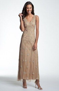 Pisarro Nights V-Neck Beaded Sequin Gown (Regular & Petite) on shopstyle.com