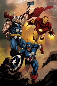 Comics Forever - Marvel's Trinity // artwork by Robert Atkins and LogicFun - Avengers Comics, Marvel Avengers, Avengers Cartoon, Marvel Comics Art, Marvel Heroes, Comic Book Characters, Marvel Characters, Comic Character, Comic Books Art