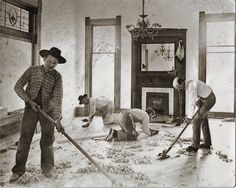 Austin, in 1890, carpenters finish up working on the Dick Coons House. Thanks to the Carpenter's Union these men are working an eight hour day instead of a 10hour day for the same wages.