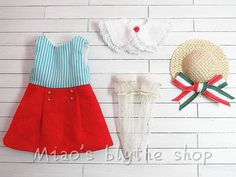 Miao's blythe outfit NAVY dress set 3 by Miaomiaoblythe on Etsy, $50.00