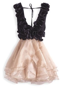 I just want to own this dress maybe prance around the house in it!!! Black-Golden Plunging Neckline Cascading Ruffle Sleeveless Chiffon Dress