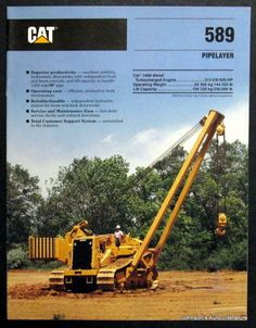 Caterpillar 1990 589 Pipelayer Construction Brochure #Caterpillar #Brochure Operating Engineers, Pipeline Construction, Caterpillar Equipment, Old Tractors, Heavy Machinery, Old Ads, Web Design Inspiration, Heavy Equipment, Vintage Posters