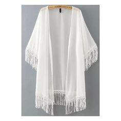 SheIn(sheinside) White Half Sleeve Tassel Chiffon Kimono ($16) ❤ liked on Polyvore featuring cardigans, kimonos, outerwear, tops, jackets and white