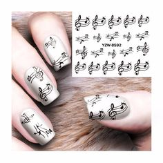 Musical Note Water Transfer Stickers for Nail Art