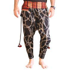 "Fabric: 100% Cotton Harem Pants Around Waist: 27"" - 36"" (66-96cm) Leg Length: 36"" (92cm) Inseam Length: 27"" (68cm) Fit for Size XS-S-M-L (8-10-12-14) Quality: New More Details: Elastic Waist and front tie, 1 outside pocket, elastic cuffs, for Men"