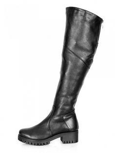 Kožene čižmy nad kolená s platformou BARSA čierne Rubber Rain Boots, Riding Boots, Platform, Clothes, Shoes, Fashion, Women's Booties, Horse Riding Boots, Outfits