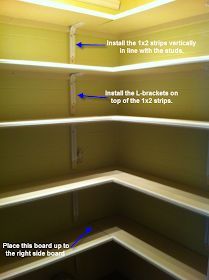 Wooden Pantry Shelf Plans DIY blueprints Pantry shelf plans Cabinet by cabinet Rolling shelves in a reach in pantry can provide accessibility Ideas and expert tips on Pantry Shelving, Closet Shelves, Stair Shelves, Pantry Storage, Kitchen Storage, Wooden Pantry, Wooden Shelves, Corner Pantry, Kitchen Pantry