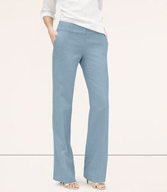 Image of Petite Chambray Fluid Trousers in Marisa Fit