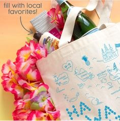 Fill our custom totes with your favorite goodies and local delicacies for a personal and memorable welcome bag!