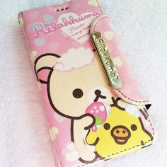 """Rilakkuma Korilakkuma iPhone Wallet Flip Case  Slightly worn  In good condition  Height: 5""""  Width: 3""""  Pink touch pen included! Accessories Phone Cases"""