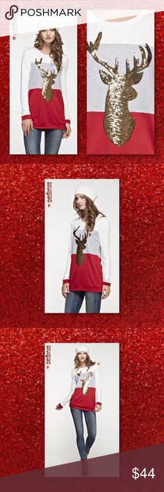 """JUST IN🆕 Sequin Reindeer Color Block Tunic New Holiday Sequin Reindeer Color Block Tunic  Material: 65% POLYESTER 35% RAYON Made in U.S.A Sizes Avail: Small, Medium, Large Fits true to size Model Size: Wearing a small Height: 5'10; Bust: 34""""; Waist: 25""""; Hip: 34.5""""  💠💠PRICE FIRM UNLESS BUNDLED💠💠 ⭐️⭐️SORRY NO TRADES AND LOWBALL OFFERS WILL BE IGNORED ⭐️⭐️ 🌺🌺ADDITIONAL MEASUREMENTS AVAIL UPON REQUEST 🌺🌺 Glam Squad 2 You Tops"""