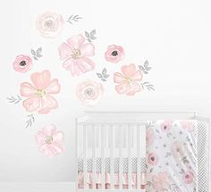 Shop for Sweet Jojo Designs Blush Pink Grey White Watercolor Floral Collection Peel and Stick Wall Mural Decal Sticker Art Nursery Decor. Get free delivery On EVERYTHING* Overstock - Your Online Nursery Decor Shop! Wall Mural Decals, Large Wall Decals, Flower Wall Decals, Wall Decal Sticker, Wall Stickers, Floral Nursery, Floral Wall, Nursery Decor, Wall Decor