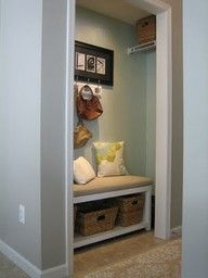 turning a small hall closet into a mudroom