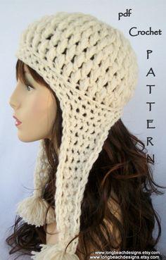 crochet earflap hat pattern Crested Butte by longbeachdesigns