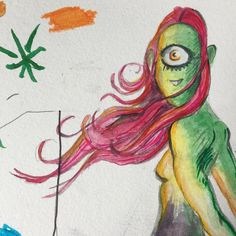 Experimenting with #watercolor #art #water #paint #greengirl #processart