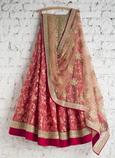 Lehengas by SwatiManish : Coral pink lehenga with peach dupatta