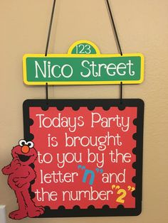 This listing is for an Elmo birthday door sign. It features Elmo and says, Elmo First Birthday, Second Birthday Ideas, Monster Birthday Parties, 3rd Birthday Parties, Boy Birthday, Birthday Door, Birthday Signs, Birthday Banners, Birthday Invitations