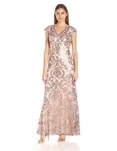 Tadashi Shoji Women's Sequin Lace Cap Slv Dress: Amazon Fashion