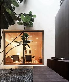 Creating indoor courtyard could be a fun idea for those of you who do not have good weather conditions outdoors, or maybe you want to include part of nature for house decoration Patio Interior, Interior Exterior, Home Interior, Exterior Design, Modern Interior, Indoor Courtyard, Internal Courtyard, Courtyard Gardens, Rooftop Terrace