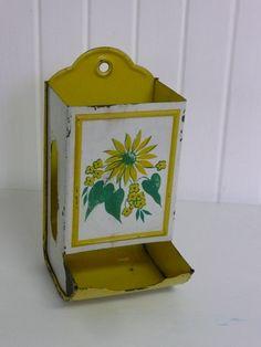 Vintage Matchbox Holder Sunflower Yellow by NewLIfeVintageRVs, $30.00