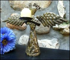 """Hand Hammered Metal Candle Holder - Angel Design - 12"""" - $18.95 - -- Haitian Metal Art, Recycled Steel Drum Art of Haiti, Metal Candle Holder - Handcrafted Metal Art  - Haitian Art – Haitian Steel Drum Metal Art – To see more, visit us at www.HaitiGallery.com"""
