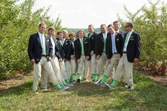 Groomsmen with matching striped socks!