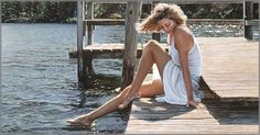 Steve Hanks is recognized as one of the best watercolor artists working today. The detail, color, and realism of Steve Hanks' paintings are unheard of in this difficult Watercolor Artists, Watercolor Paintings, Watercolors, Painting Art, Girl Paintings, Lake Painting, Watercolor Ideas, Watercolor Techniques, Woman Painting