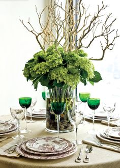 centerpieces green tree www.atmospheresfloral.com