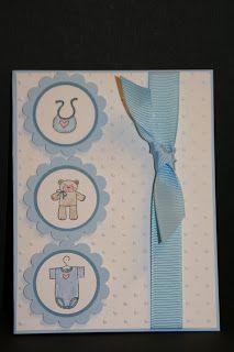 "My Creative Corner!: Baby Cards; staz-on ink; 1 1/4 "" punch; 1 3/8"" circle punch marina mist; scallop circle punch bashful blue"
