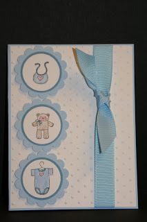 "My Creative Corner!: Baby Cards; staz-on ink; 1 1/4 "" punch; 1 3/8"" circle punch marina mist; scallop circle punch bashful blue"