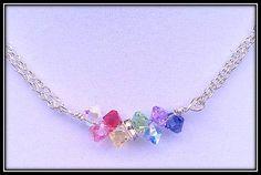 Swarovski Crystal Necklace. Rainbow Colors Swarovski Crystal, Silver plated necklace