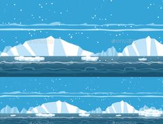 Iceberg Background — Vector EPS #evening #platform • Available here → https://graphicriver.net/item/game-background/19358654?ref=pxcr