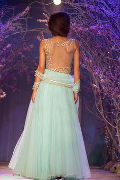 Sky blue floor length anarkali with floral embroidery on sheer back Jyotsna Tiwari India Bridal Fashion Week 2014