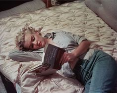 """I love how often Marilyn is seen reading in photographs. The photographers weren't trying to be ironic or funny, this lady actually read all the time. There's a wonderful photo of her reading """"Ulysses"""" by James Joyce (not a light read) in a park. What a beautiful woman. #icon #marilynmonroe"""