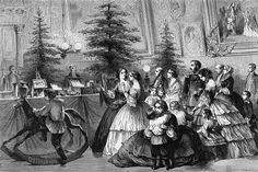 Victorian Family Gathering Around a Christmas Tree costumes style c 1850s