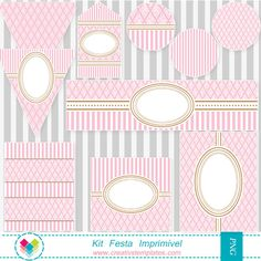Kit festa para imprimir rosa provençal - Printable party