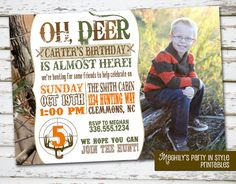 Hunting Theme  Birthday Invitation with Photo by Meghilys on Etsy
