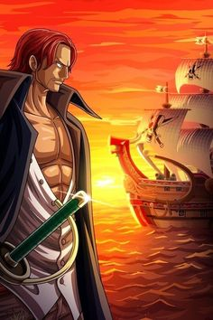 Shanks and the Red Force - One Piece Photographic Print <br> Photographic Print One Piece Manga, One Piece Fanart, Anime Guys With Glasses, Hot Anime Guys, Red Force, Famous Pirates, Brave, Es Der Clown, Akagami No