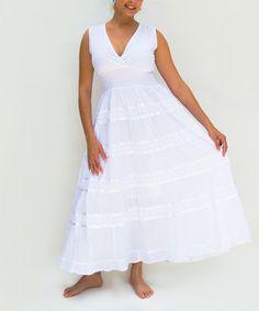 Another great find on #zulily! White Shirred Surplice Maxi Dress - Plus #zulilyfinds