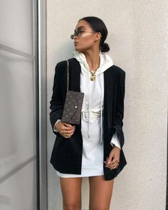 Some days things just take way too much of my energy, I look up and the whole room's spinning 🌪 hoodie dress - will link on… Blazer Outfits, Dress Outfits, Fall Outfits, Fashion Outfits, Rock Outfits, Emo Outfits, Blazer Dress, Fashion Boots, Womens Fashion