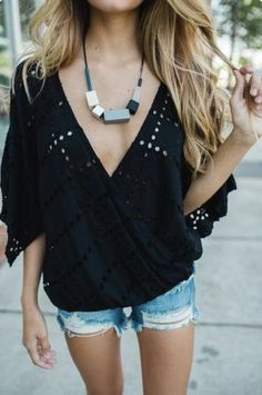summer outfits  Black Top + Ripped Denim Short